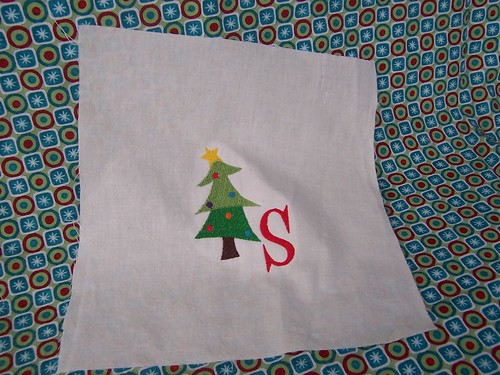 Embroidered Tree with Monogram Fabric Panel