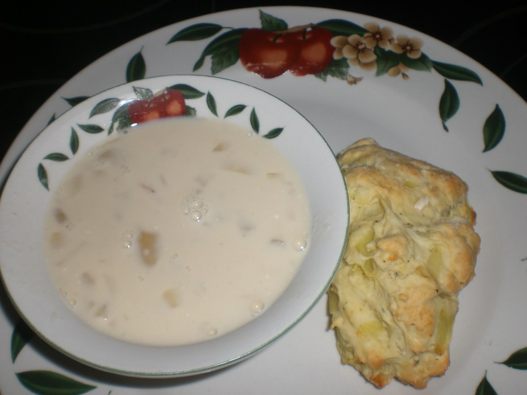 Crockpot Potato Soup and Onion Scones