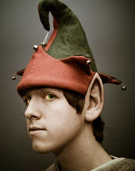 "Day 346/365 ""I'm needed back at the workshop..."" (Explore!) (Hunter Wilson) Tags: christmas winter portrait green hat photoshop self d50 nikon december nolan elf ear wilson hunter 2008 wellstone northpole 365days 25daysofchristmas hunterwilson"
