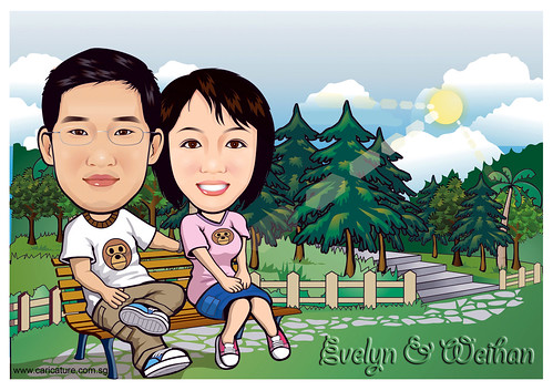 Q-digital carictures couple in park