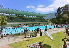 Newlands Swimming Pool (mallix) Tags: blue summer people hot public pool architecture race swimming swim southafrica stand space places diving capetown structure historic nostalgia memory olympic worldcup 1980 entry façade newlands apartheid 2010 publicswimmingpool soccerworldcup worldcup2010 fifa2010 newlandsswimmingpool
