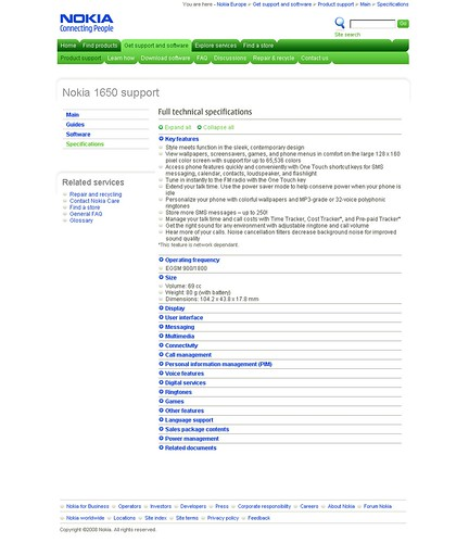Nokia Europe Support - Specifications Page