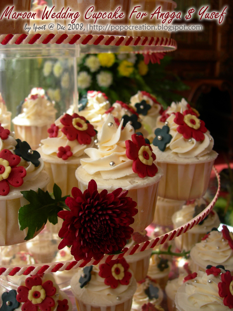 Maroon Wedding Cupcake