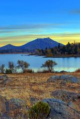 Lake Cuyamaca (mojo2u) Tags: california lake sandiego mountians hdr twlight cuyamaca lakecuyamaca stonewallpeak clevelandnationalforest sandiegosunset photomatrix nikon1855mm nikond80 cuyamacamountians cuyamacavillage
