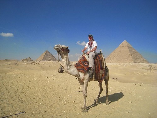 Kickin up sand on a camel in the Egyptian desert
