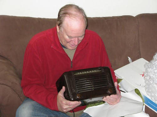Dad Opens his Vintage Motorola Radio