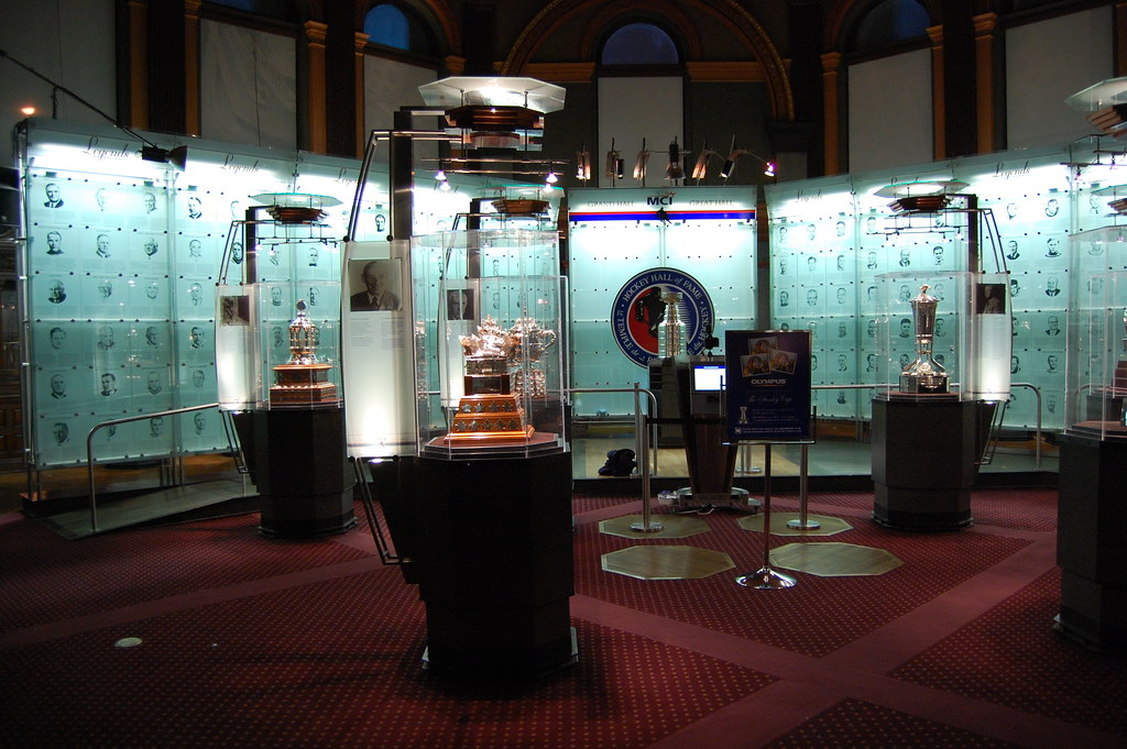 Trophy room at the Hockey Hall of Fame