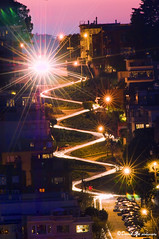 Lombard Street at night seen from Coit Tower. (davidyuweb) Tags: world from street tower night san francisco seen coit lombard lombardstreet crookedest lombardstreetsanfrancisco lombardstreetatnightseenfromcoittower lombardstreetcrookedeststreetsanfrancisco
