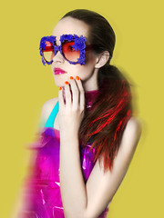 Faint Magazine / Double Fold Ink Editorial (Leriam Gonzalez) Tags: nyc newyorkcity colors yellow fun bright fashionphotography redhair bold boldcolors boldcolor leriamgonzalez mercurasunglasses hasselbladhd40 faintmagazine cellophanefashion