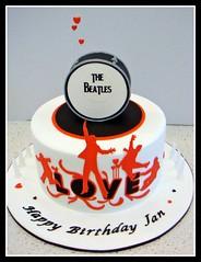 Beatles Cake (marthamakescakes) Tags: orange white love cakes cake drum beatles