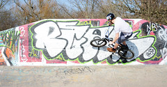 Wall Ride (Callum Dickson Photography) Tags: pink sun white man green sports bike bicycle sport wall 50mm graffiti scotland cool nikon bmx ride skateboarding grove glasgow extreme skatepark skate kelvin skateboard kg nikkor 50 wallride bmxing teamnikon d7100