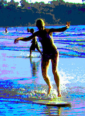 Skimming through summer San Diego style (moonjazz) Tags: ocean blue girls sea summer beach wet water beauty youth photoshop poster fun waves sandiego joy teens happiness surface bikini balance recreation splash swimsuit laplaya skim skimboard abigfave anawesomeshot aplusphoto