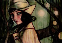 Glow (verpabunny) Tags: original art girl hat forest painting glow kellyvivanco
