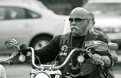 Dude (Lil Wally) Tags: sunglasses bike goatee ride flag bald chrome biker blackwhitephotography mustach mortorcycle unlimitedphotos