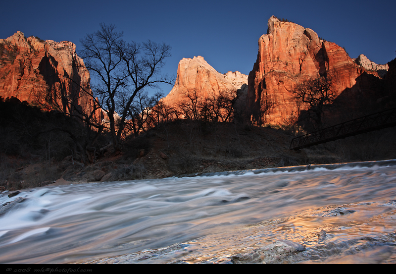 zion canyon sunrise court of the patriarchs birch creek canyon virgin river springdale utah photofool