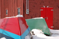 Bright boats (halifaxlight) Tags: door blue windows winter shadow red snow canada green boats novascotia shed sunny resting overturned bluerocks buoyant electricalpowermeter