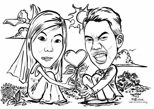 Couple caricatures tree of love