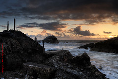 coastal hues (louie imaging) Tags: ocean light sunset sun beach rock clouds coast bath ruins san francisco waves pacific dusk coastal seal sutro sealrock
