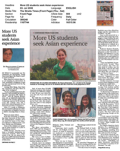 More US students seek Asian experience (The Straits Times, 3rd ...