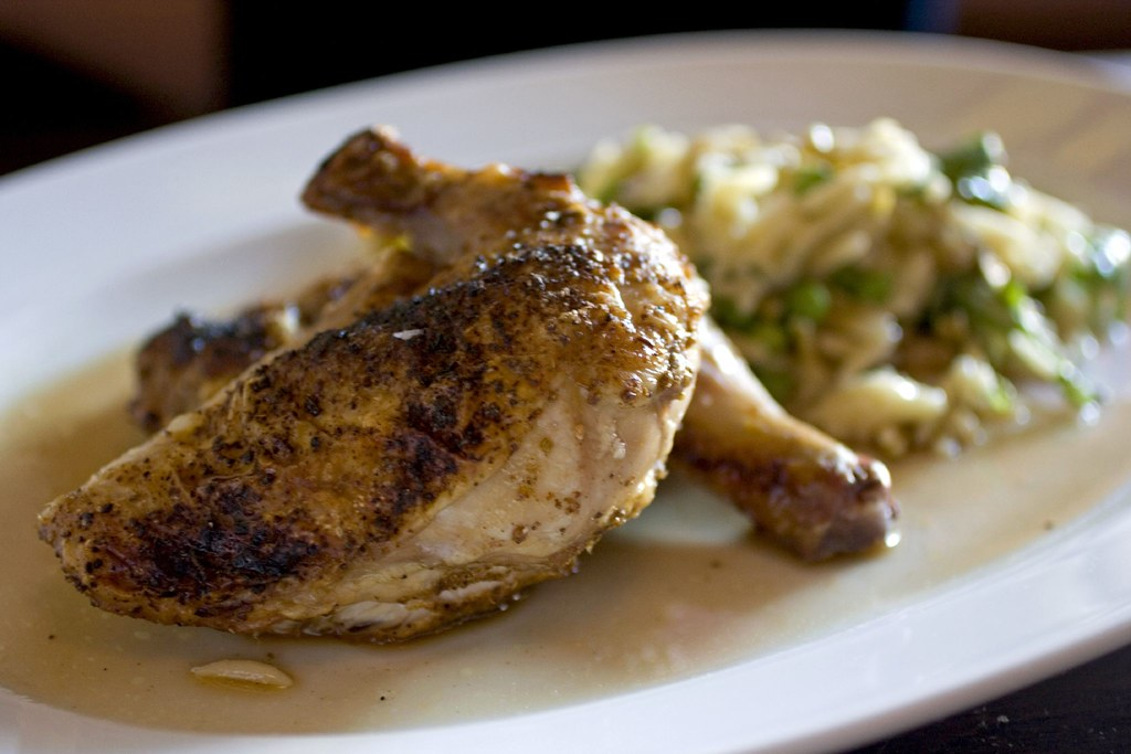Moroccan spice rubbed wood oven roasted Cornish hen, lemon orzo salad