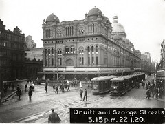 Trams on George Street in front of the QVB (State Records NSW) Tags: people blackandwhite sydney archives pedestrians newsouthwales qvb trams georgestreet druittstreet queenvictoriabuilding tramtracks staterecordsnsw