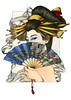 GEISHA WITH THE FAN - ZOE LACCHEI geisha fan skull