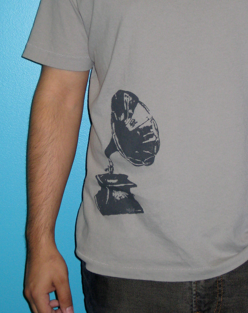Phonograph t-shirt, close up
