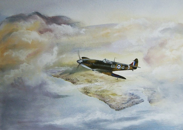Paintings of aerial combat from the War - Scottish art : Scottish