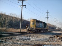Southbound CSX Transportation Co light engine movement. Hawthorne Junction. Chicago / Cicero Illinois. March 2007.