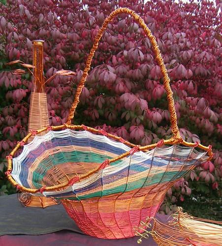 """""""Signature"""" basket, copper wire, multicolor"""