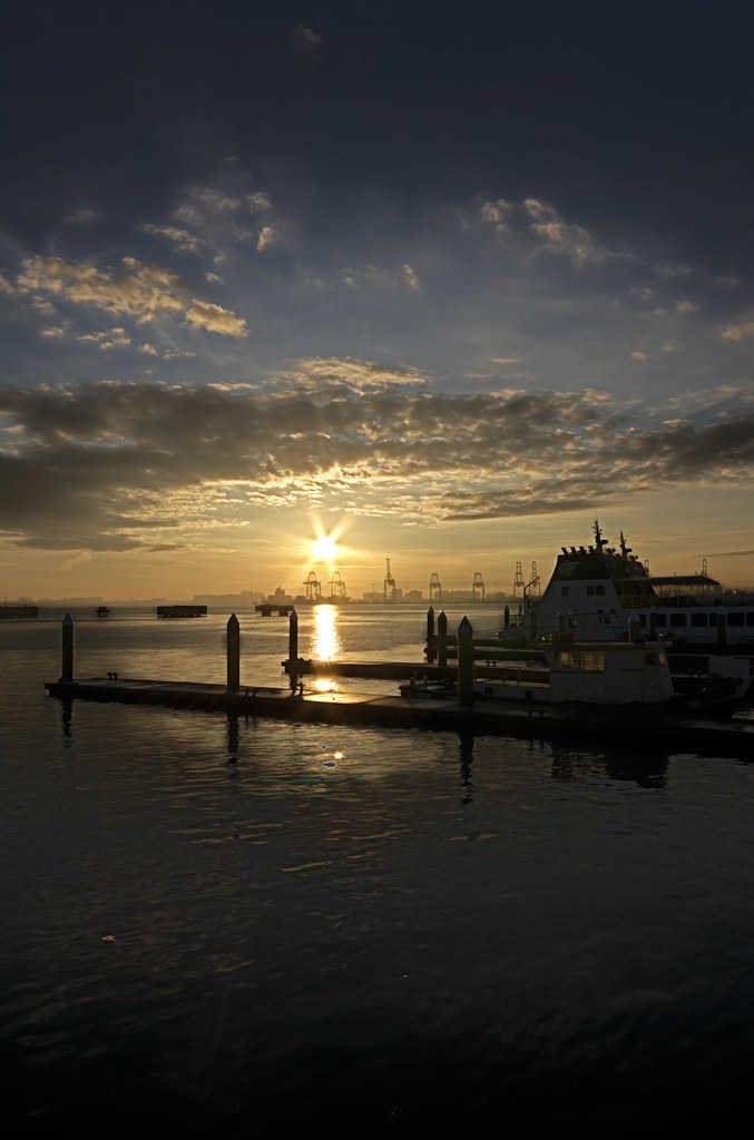 Weld-Quay Morning Sunrise above the port cranes (Butterworth).