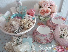 Sweet Six Tea Party (Sugar*Sugar) Tags: pink roses party art vintage studio tea cottage supplies craftsupplies millinery shabbychic leesiebella sweetsixstudio