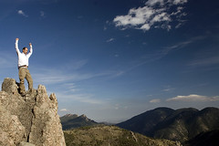 Climbing in the Rockies (Outdoorsie) Tags: park sky cloud mountain rock big nikon canyon climbing summit soe thompson scrambling ceder blueribbonwinner d80 themonastary fickrdiamond