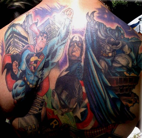 Super Heroes Back Tattoo