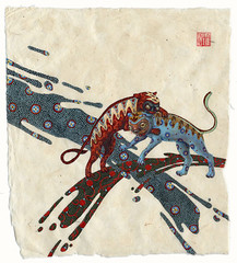 small war (revolenka) Tags: art texture strange animals illustration paper miniature fight war acrylic drawing patterns small chinese monsters splash popsurrealism