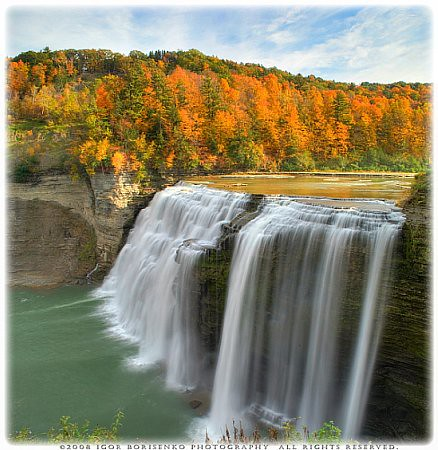 Autumn Silky Waterfall Paradise HDR Letchworth State Park NY