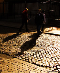 Cobbles (Steve-h) Tags: ireland red people dublin woman sunlight man black yellow grey women shadows finepix fujifilm backlit cobbles railings templebar oragne gbr contrajour cobbledstreets crownalley steveh s100fs bestcapturesaoi