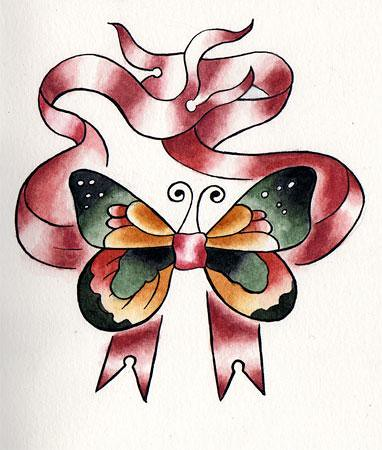 tattoo papillon. [aquarelle] noeud papillon