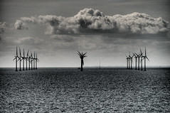 Dark Coast (nosha) Tags: ocean sea sky sculpture cloud art water windmill beautiful beauty clouds copenhagen dark denmark coast nikon gloomy power wind sweden ominous foreboding apocalypse symmetry september future symmetrical trio pm scandinavia triplet 2008 windpower kobenhavn alignment align scandanavia d300 18200mm nosha darkfuture noshalikes apocalypsedecadence darkcoast