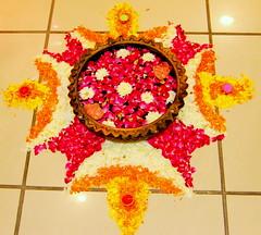 Diwali 2008 (AdiCha) Tags: flowers india colors nikon decoration 1855mm diwali deepawali rangoli d40 nikond40