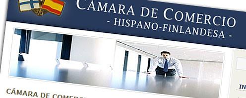 Cámara de comercio hispano finlandesa, portada de la web