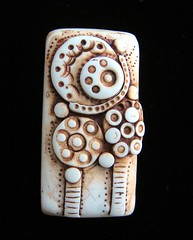 faux ivory rectangluar pendant (SelenaAnne) Tags: abstract handmade craft jewelry polymerclay polyclay fauxivory