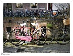 goodday sunshine... (MiChaH) Tags: city pink sunlight utrecht bicycles fietsen stad gracht zonlicht roze binnenstad