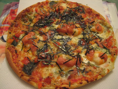 Pizza with Shrimp and Spicy Cod Roe and Seaweed