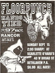Floorpunch, Hands Tied, 97A, Rancor punk hardcore flyer (changezine) Tags: poster flyer punk live atari rancor pa hardcore punkrock straightedge thrash handbill sxe floorpunch 97a handstied