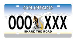 """Share the Road"" license plate, Colorado"