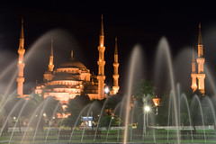 Blue Mosque - Sultanahmet Camii (samirdiwan) Tags: longexposure water fountain night turkey lights minaret islam istanbul bluemosque oldcity masjid islamicarchitecture sultanahmetcamii 2875 abigfave theunforgettablepictures