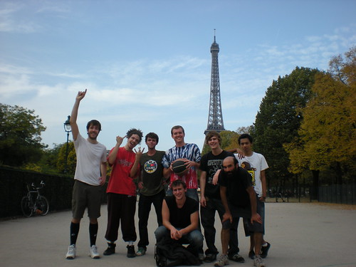 My buddy Sean Blanda, his brother Brian and I with new friends after a spirited game of basketball with the Eiffel Tower behind us in Paris, France on Oct. 12, 2008.