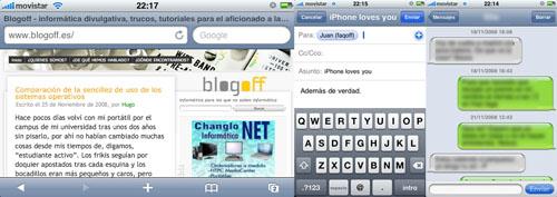 Capturas de pantalla de iPhone navegando por internet, escribiendo un correo electrónico y cruzando mensajes SMS