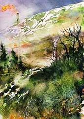 Snow Road to Hell (Artist Naturalist-Mike Sherman) Tags: painting landscape michigan flames dump gas pearson venting landfill midmichigan kunstplatzlinternational